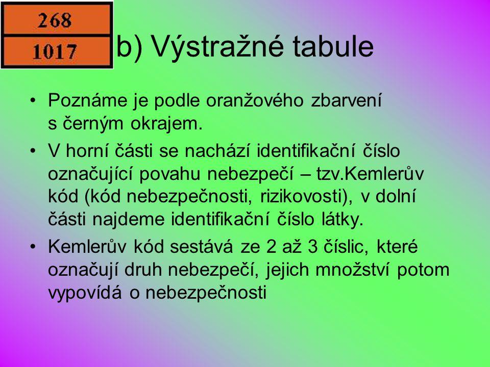 b) Výstražné tabule Poznáme je podle oranžového zbarvení s černým okrajem. V horní části se nachází identifikační číslo označující povahu nebezpečí –