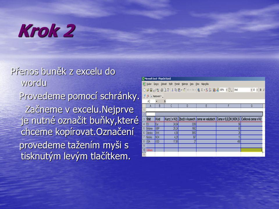 Krok 3 Nyní vybranou tabulku zkopírujem do schránky Proto vybereme příkaz Kopírovat z nabídky Úpravy nebo klikneme Na tlačítko kopírovat na panelu nástrojů