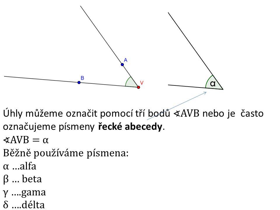 Úhly můžeme označit pomocí tří bodů ∢AVB nebo je často označujeme písmeny řecké abecedy. ∢AVB = α Běžně používáme písmena: α …alfa β … beta γ ….gama δ