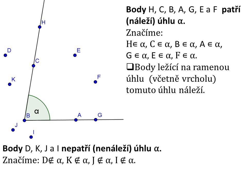 Body H, C, B, A, G, E a F patří (náleží) úhlu α. Značíme: H∊ α, C ∊ α, B ∊ α, A ∊ α, G ∊ α, E ∊ α, F ∊ α.  Body ležící na ramenou úhlu (včetně vrchol