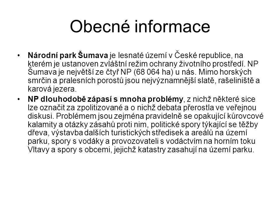 Obecné informace Národní park Šumava je lesnaté území v České republice, na kterém je ustanoven zvláštní režim ochrany životního prostředí. NP Šumava