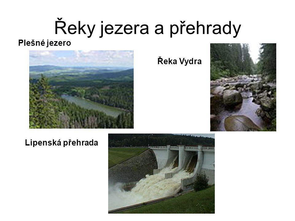Řeky jezera a přehrady Plešné jezero Řeka Vydra Lipenská přehrada