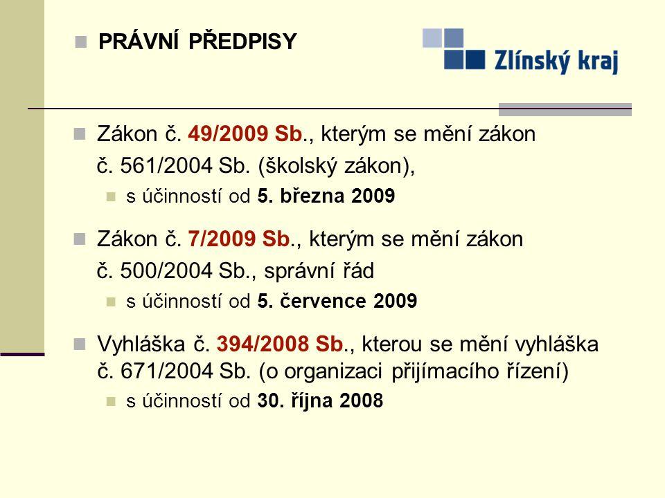 PRÁVNÍ PŘEDPISY Zákon č. 49/2009 Sb., kterým se mění zákon č. 561/2004 Sb. (školský zákon), s účinností od 5. března 2009 Zákon č. 7/2009 Sb., kterým