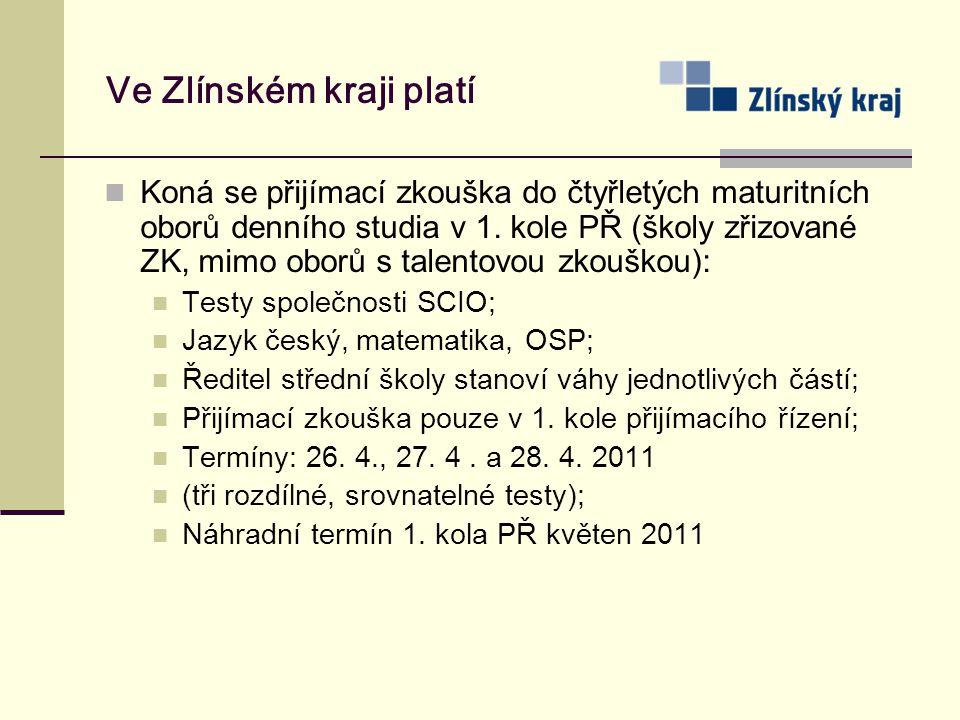 Ve Zlínském kraji platí Koná se přijímací zkouška do čtyřletých maturitních oborů denního studia v 1. kole PŘ (školy zřizované ZK, mimo oborů s talent