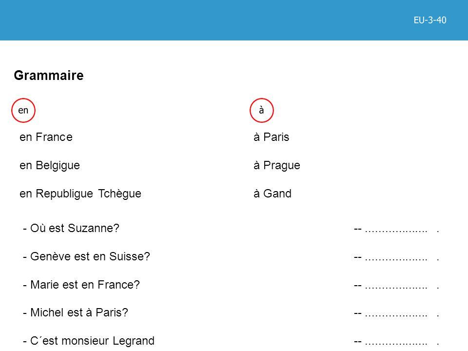 Grammaire en Franceà Paris en Belgigueà Prague en Republigue Tchègue à Gand - Où est Suzanne.