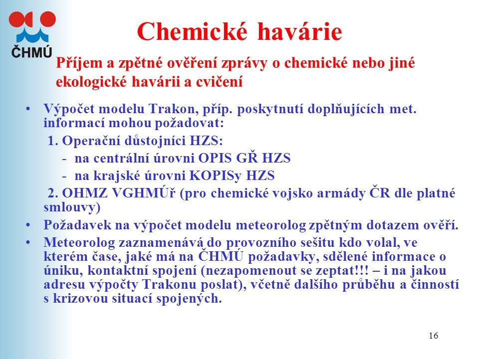16 Chemické havárie Výpočet modelu Trakon, příp. poskytnutí doplňujících met. informací mohou požadovat: 1. Operační důstojníci HZS: - na centrální úr
