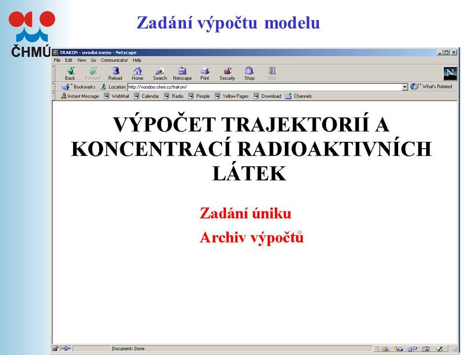 16 Chemické havárie Výpočet modelu Trakon, příp.poskytnutí doplňujících met.