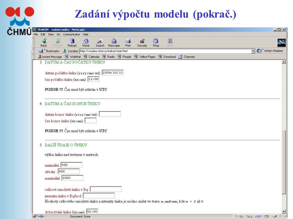 8 Výsledky modelu Průběh výpočtu modelu