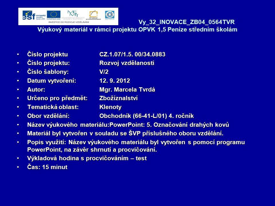 Vy_32_INOVACE_ZB04_0564TVR Výukový materiál v rámci projektu OPVK 1,5 Peníze středním školám Číslo projektuCZ.1.07/1.5. 00/34.0883Číslo projektuCZ.1.0