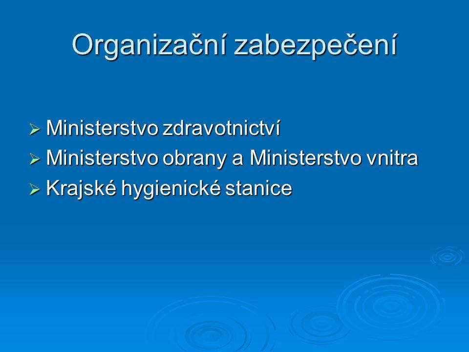 Organizační zabezpečení  Ministerstvo zdravotnictví  Ministerstvo obrany a Ministerstvo vnitra  Krajské hygienické stanice