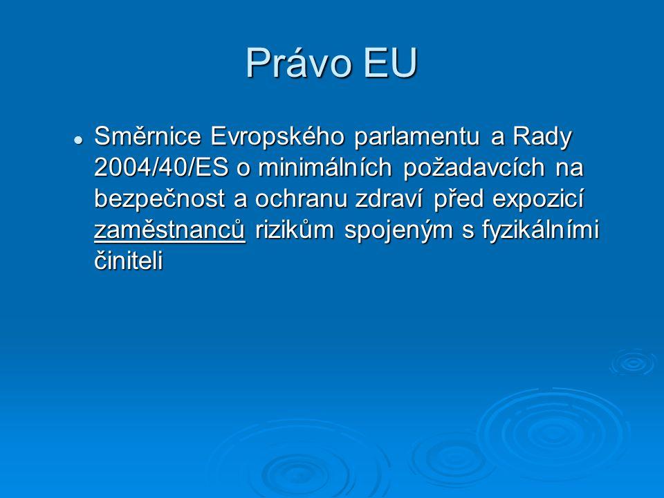 Právo EU Směrnice Evropského parlamentu a Rady 2004/40/ES o minimálních požadavcích na bezpečnost a ochranu zdraví před expozicí zaměstnanců rizikům spojeným s fyzikálními činiteli Směrnice Evropského parlamentu a Rady 2004/40/ES o minimálních požadavcích na bezpečnost a ochranu zdraví před expozicí zaměstnanců rizikům spojeným s fyzikálními činiteli