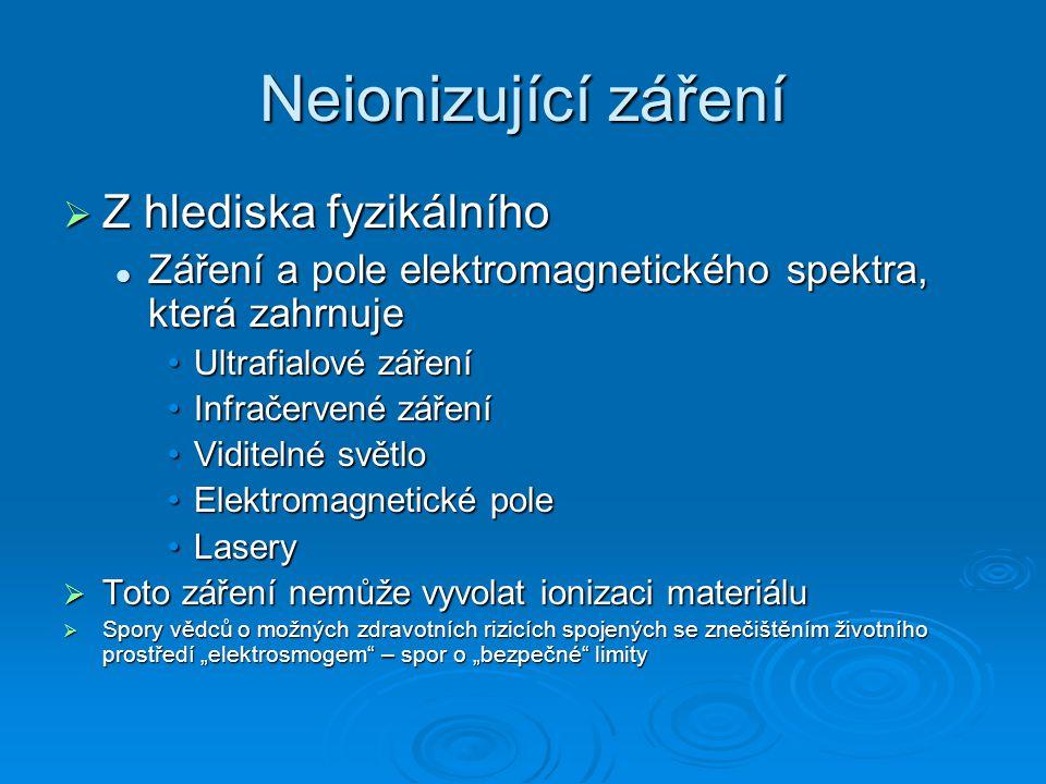 """Neionizující záření  Z hlediska fyzikálního Záření a pole elektromagnetického spektra, která zahrnuje Záření a pole elektromagnetického spektra, která zahrnuje Ultrafialové zářeníUltrafialové záření Infračervené zářeníInfračervené záření Viditelné světloViditelné světlo Elektromagnetické poleElektromagnetické pole LaseryLasery  Toto záření nemůže vyvolat ionizaci materiálu  Spory vědců o možných zdravotních rizicích spojených se znečištěním životního prostředí """"elektrosmogem – spor o """"bezpečné limity"""