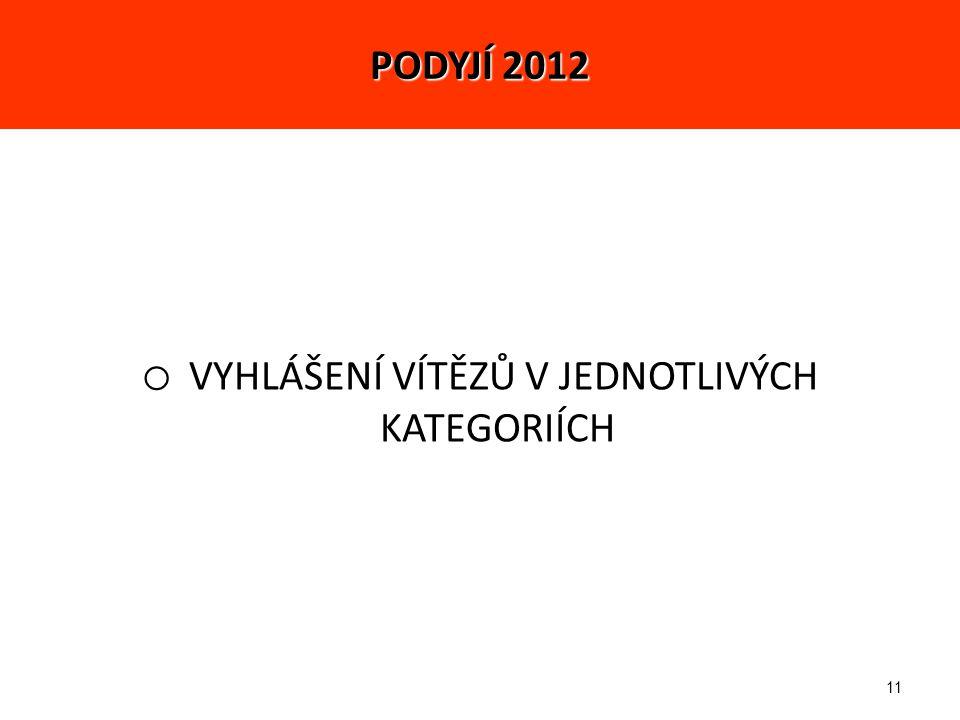 11 o VYHLÁŠENÍ VÍTĚZŮ V JEDNOTLIVÝCH KATEGORIÍCH PODYJÍ 2012