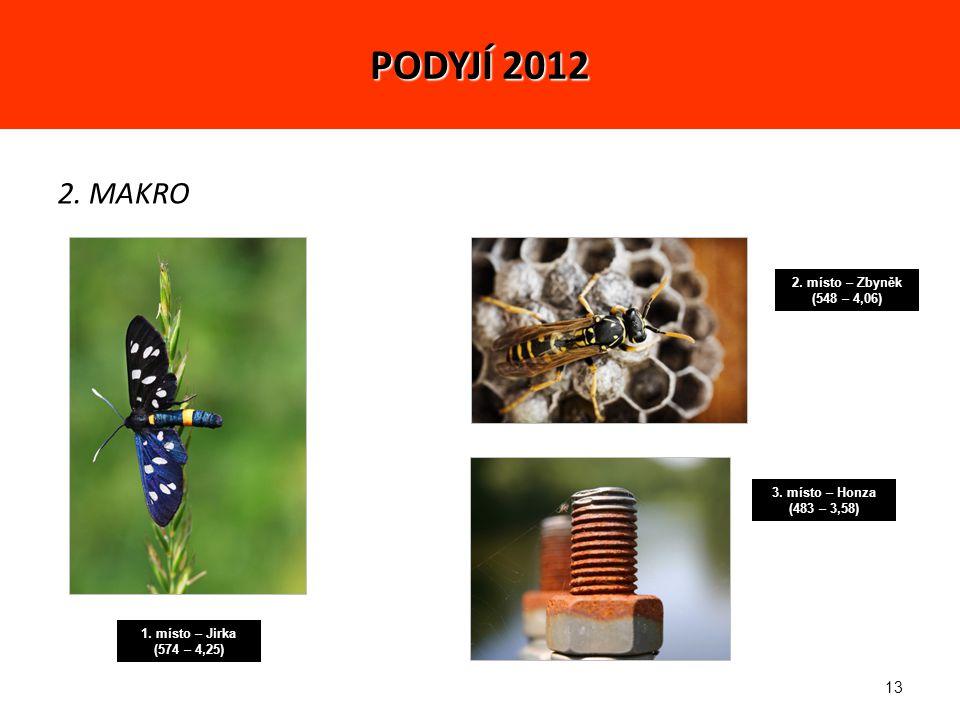 13 2. MAKRO 1. místo – Jirka (574 – 4,25) 2. místo – Zbyněk (548 – 4,06) 3.