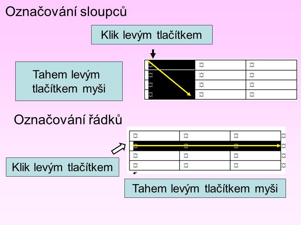 Označování sloupců Označování řádků Klik levým tlačítkem Tahem levým tlačítkem myši Klik levým tlačítkem Tahem levým tlačítkem myši