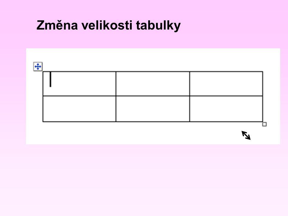 Editace textu v tabulce Po buňkách v tabulce pohybujeme kurzorovými šipkami na klávesnicí nebo myší Pozor, nepoužívat k posunu o jednu buňku dolů ENTER