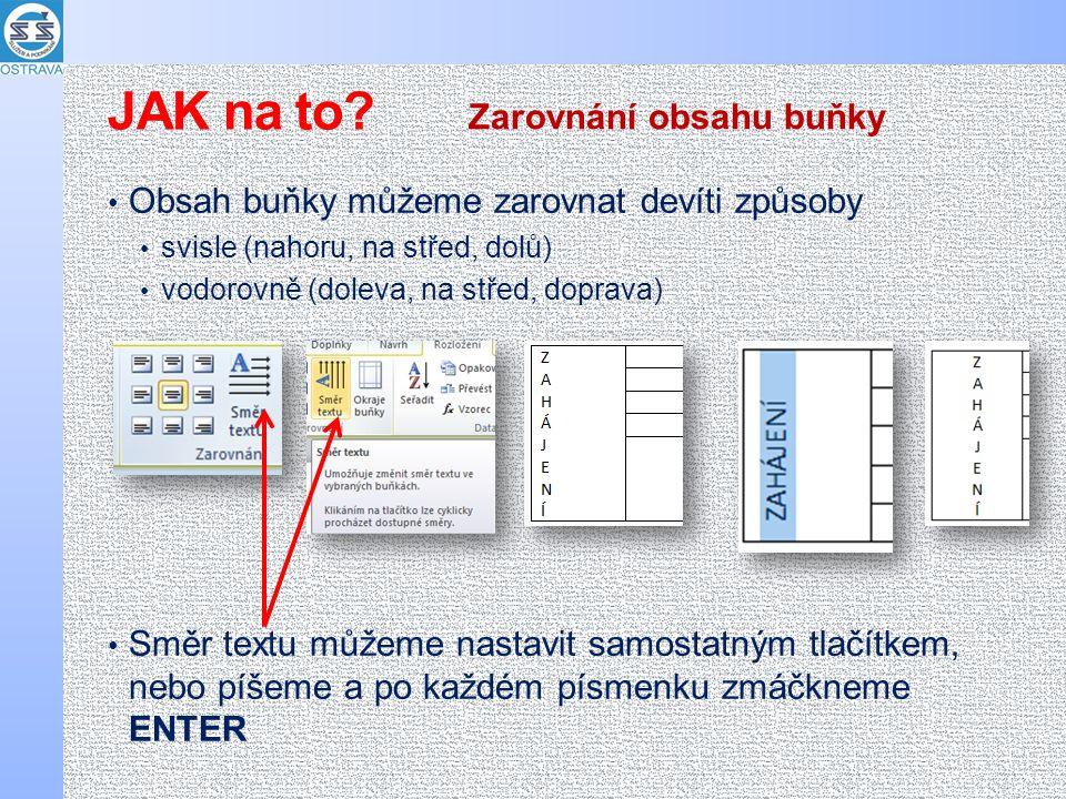 Obsah buňky můžeme zarovnat devíti způsoby svisle (nahoru, na střed, dolů) vodorovně (doleva, na střed, doprava) Směr textu můžeme nastavit samostatný