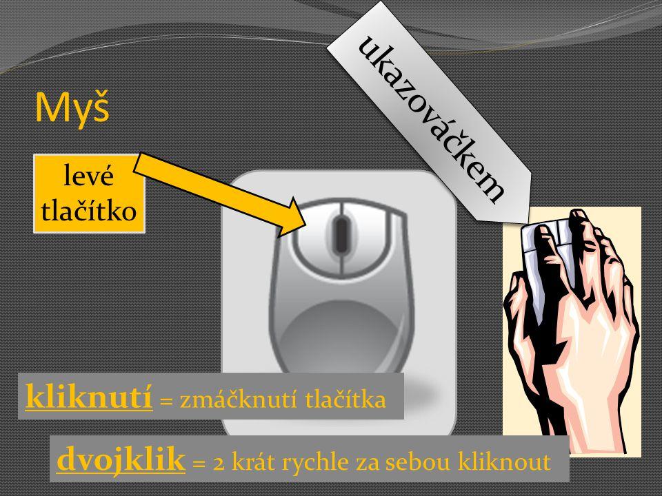 Myš kliknutí = zmáčknutí tlačítka levé tlačítko ukazováčkem dvojklik = 2 krát rychle za sebou kliknout