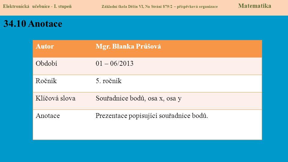 AutorMgr. Blanka Průšová Období01 – 06/2013 Ročník5. ročník Klíčová slovaSouřadnice bodů, osa x, osa y AnotacePrezentace popisující souřadnice bodů. 3