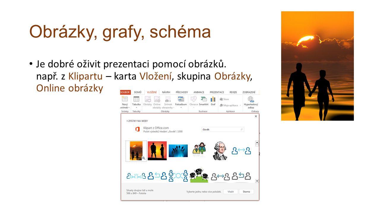 Obrázky, grafy, schéma Je dobré oživit prezentaci pomocí obrázků.