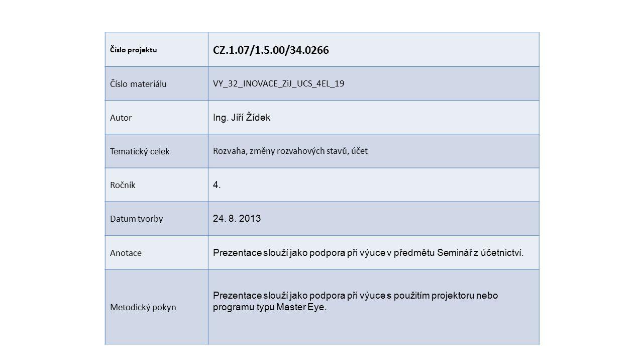 Číslo projektu CZ.1.07/1.5.00/34.0266 Číslo materiáluVY_32_INOVACE_ZiJ_UCS_4EL_19 Autor Ing.