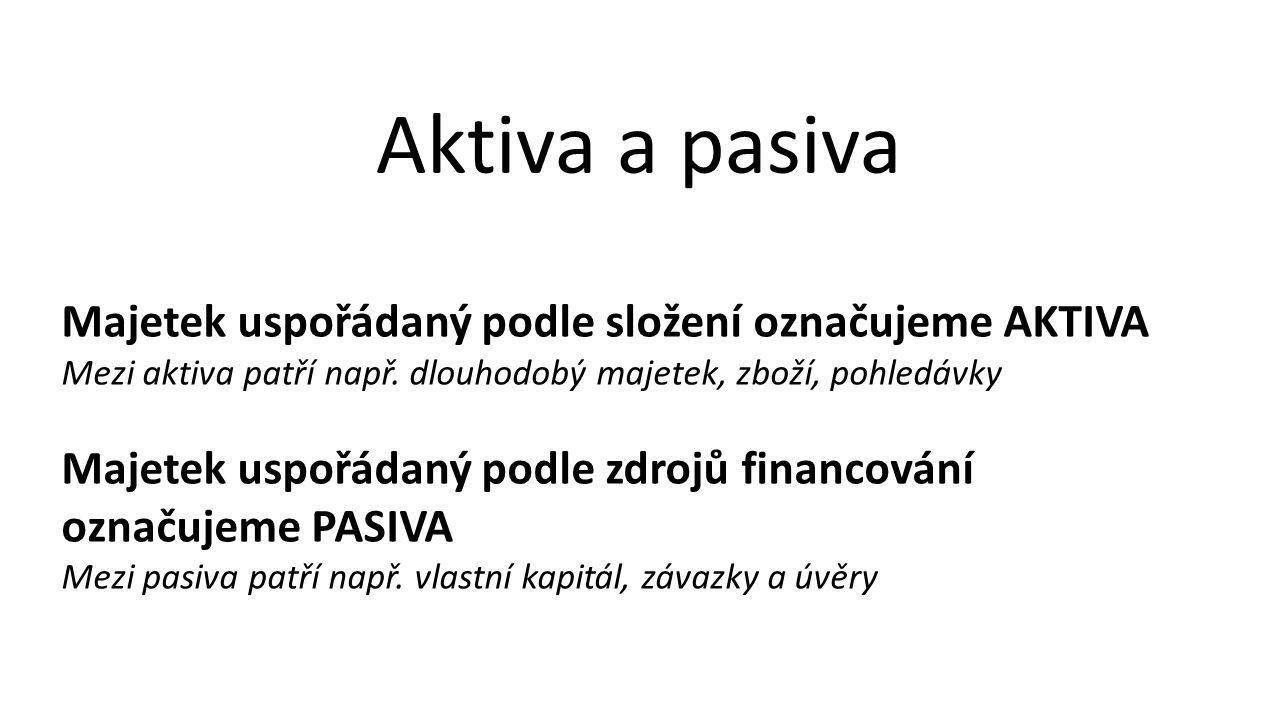Aktiva a pasiva Majetek uspořádaný podle složení označujeme AKTIVA Mezi aktiva patří např.