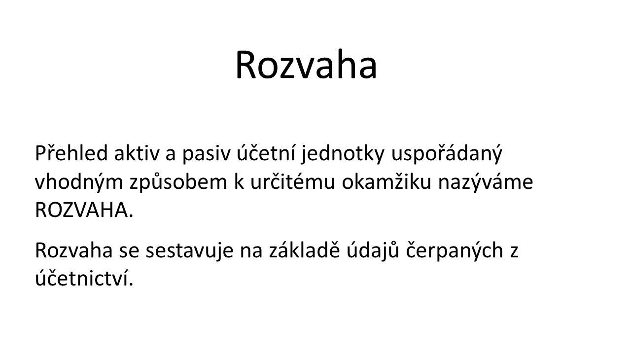 Rozvaha Přehled aktiv a pasiv účetní jednotky uspořádaný vhodným způsobem k určitému okamžiku nazýváme ROZVAHA.