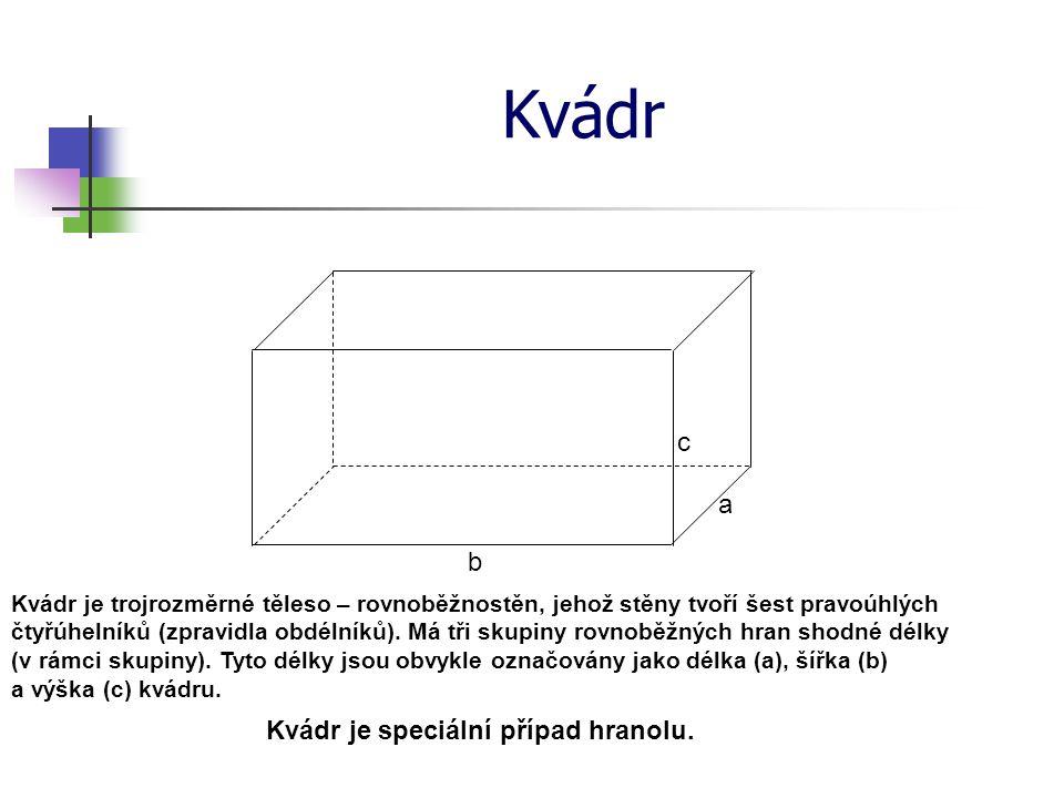 Kvádr Kvádr je trojrozměrné těleso – rovnoběžnostěn, jehož stěny tvoří šest pravoúhlých čtyřúhelníků (zpravidla obdélníků).
