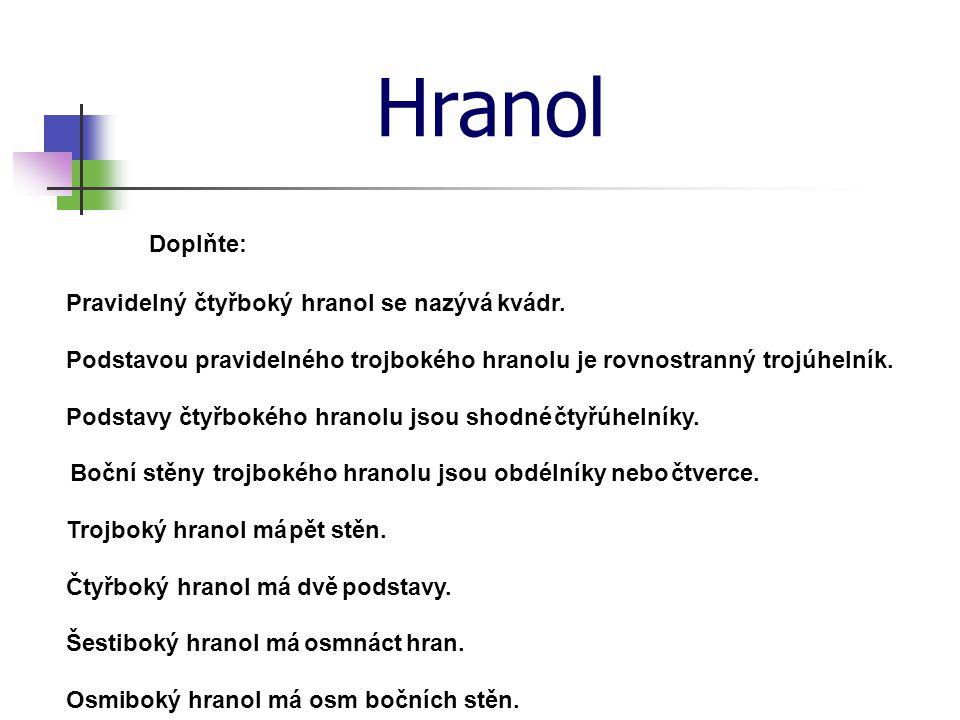 Hranol Doplňte: Pravidelný čtyřboký hranol se nazývákvádr.