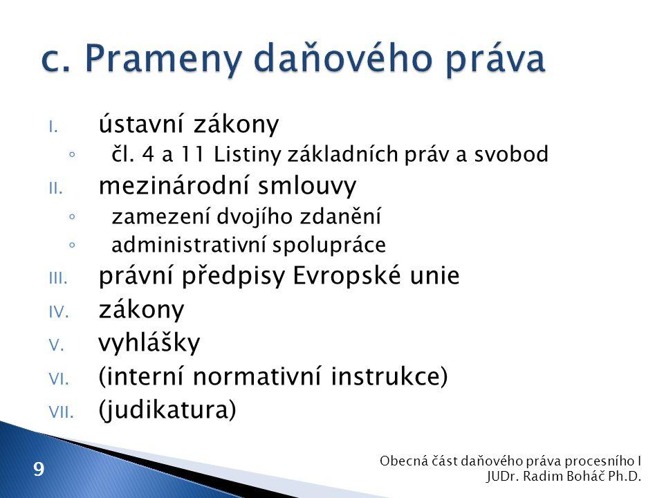 I.ústavní zákony ◦ čl. 4 a 11 Listiny základních práv a svobod II.