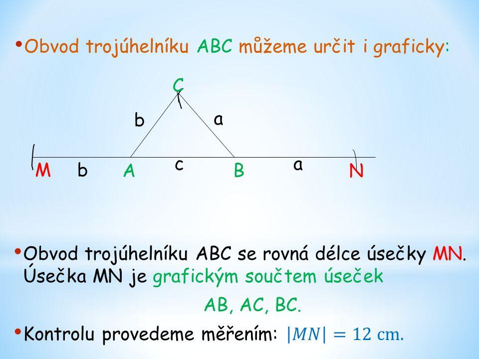 Obvod trojúhelníku ABC můžeme určit i graficky: C BA N M c b b a a