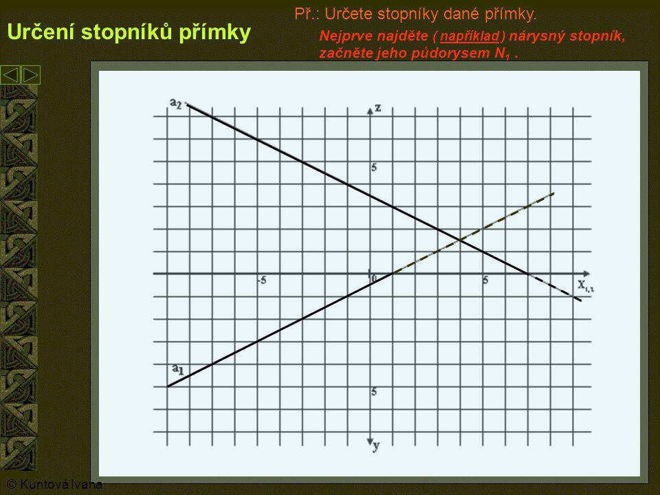 6 Určení stopníků přímky N1N1 Nyní najděte nárys nárysného stopníku N a označte ho N 2.