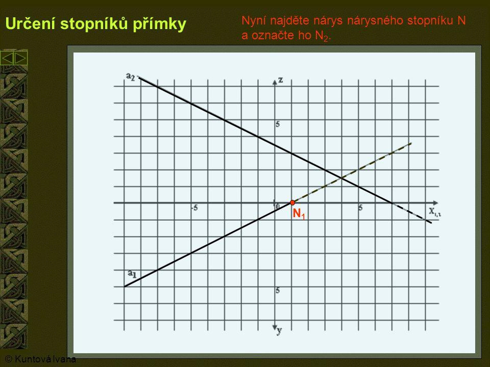 7 Určení stopníků přímky N1N1 N2N2 Teď hledejte půdorysný stopník P, nejprve jeho nárys (P 2 ).