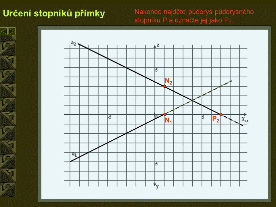 9 Určení stopníků přímky N1N1 N2N2 P2P2 P1P1 Podle stopníků je vidět, že přímka v I.kvadrantu klesá směrem vzad.