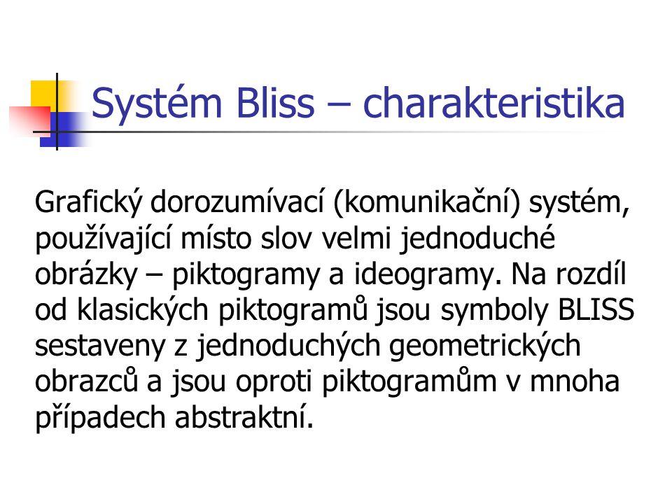 Systém Bliss – charakteristika Grafický dorozumívací (komunikační) systém, používající místo slov velmi jednoduché obrázky – piktogramy a ideogramy.