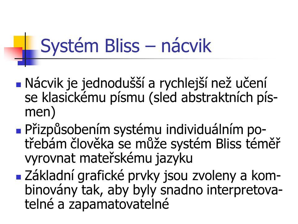 Nácvik je jednodušší a rychlejší než učení se klasickému písmu (sled abstraktních pís- men) Přizpůsobením systému individuálním po- třebám člověka se může systém Bliss téměř vyrovnat mateřskému jazyku Základní grafické prvky jsou zvoleny a kom- binovány tak, aby byly snadno interpretova- telné a zapamatovatelné