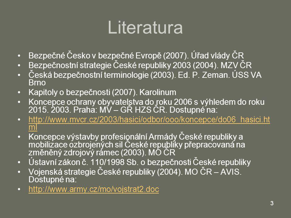 3 Literatura Bezpečné Česko v bezpečné Evropě (2007). Úřad vlády ČR Bezpečnostní strategie České republiky 2003 (2004). MZV ČR Česká bezpečnostní term