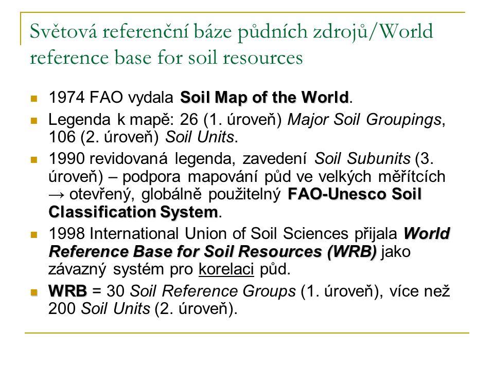 Světová referenční báze půdních zdrojů/World reference base for soil resources Soil Map of the World 1974 FAO vydala Soil Map of the World. Legenda k