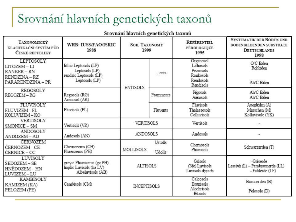 Srovnání hlavních genetických taxonů