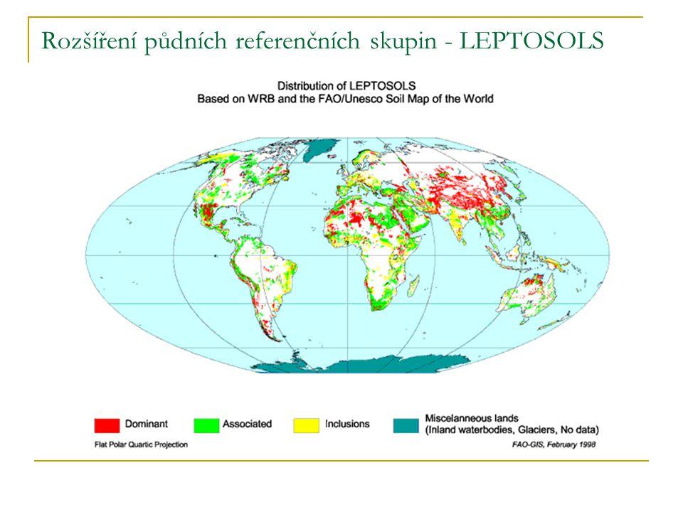 Rozšíření půdních referenčních skupin - LEPTOSOLS