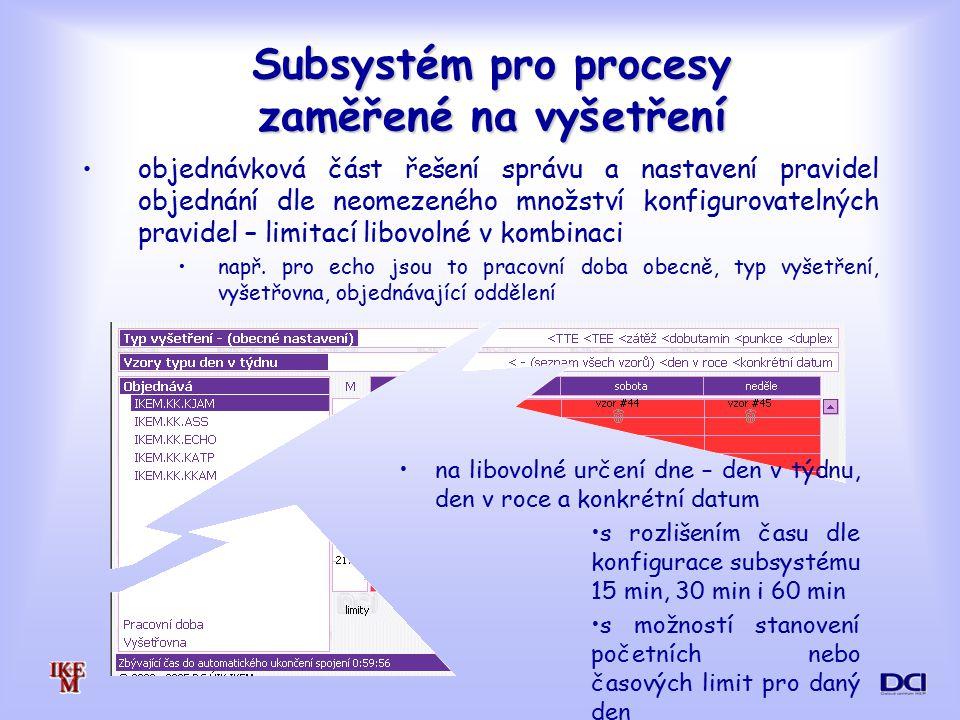 Subsystém pro procesy zaměřené na vyšetření objednávková část řešení správu a nastavení pravidel objednání dle neomezeného množství konfigurovatelných pravidel – limitací libovolné v kombinaci např.
