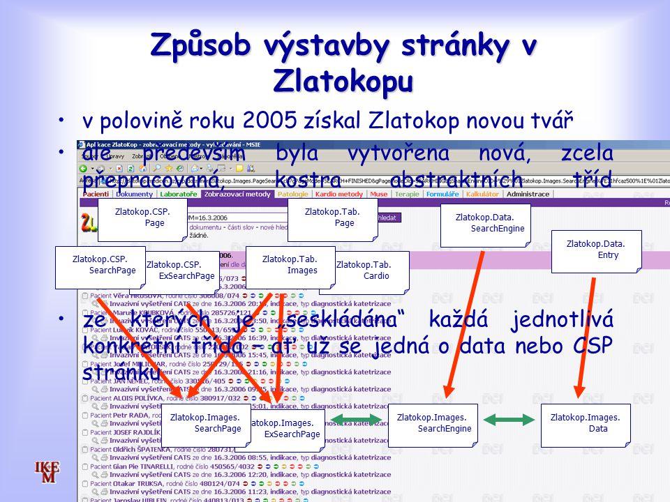 Způsob výstavby stránky v Zlatokopu Zlatokop.CSP.ExSearchPage Zlatokop.CSP.