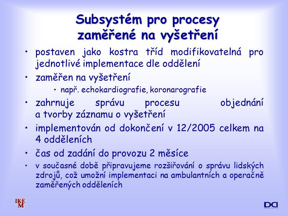 Subsystém pro procesy zaměřené na vyšetření postaven jako kostra tříd modifikovatelná pro jednotlivé implementace dle oddělení zaměřen na vyšetření např.