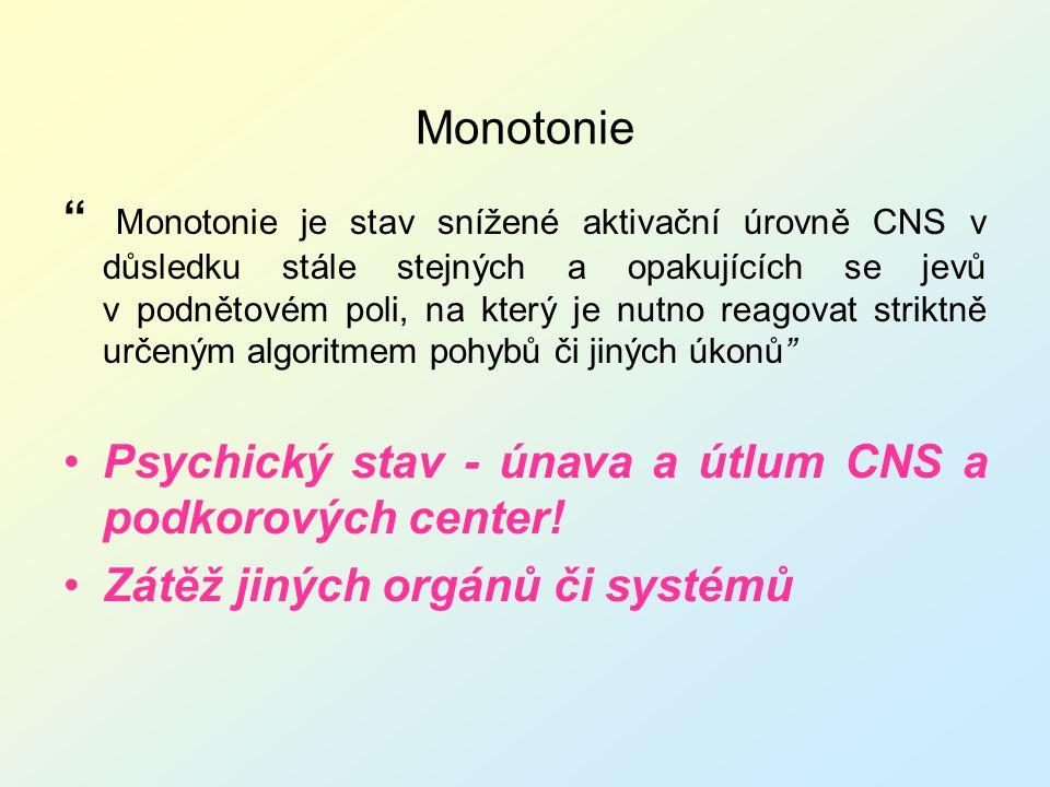 """Monotonie """" Monotonie je stav snížené aktivační úrovně CNS v důsledku stále stejných a opakujících se jevů v podnětovém poli, na který je nutno reagov"""
