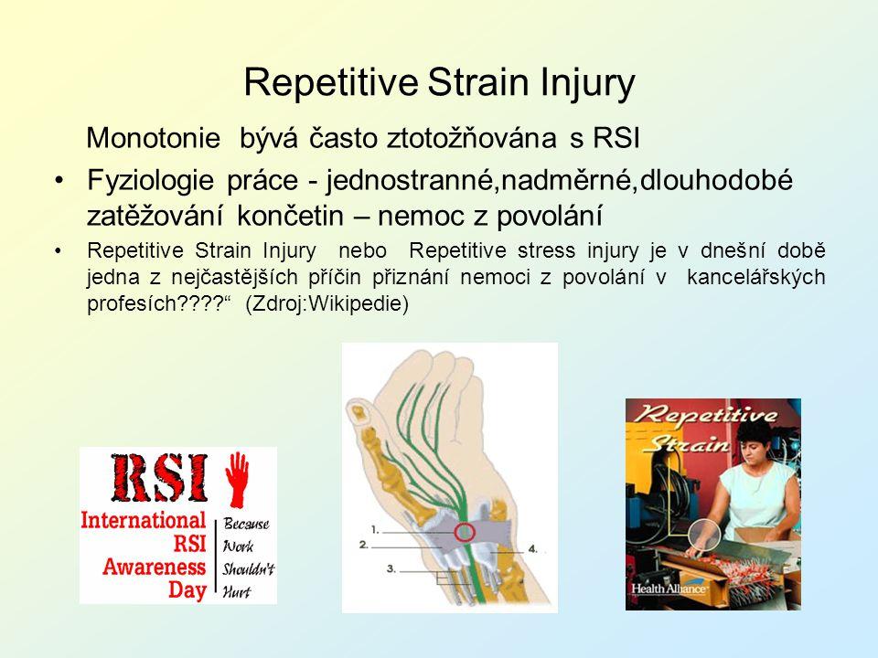 Repetitive Strain Injury Monotonie bývá často ztotožňována s RSI Fyziologie práce - jednostranné,nadměrné,dlouhodobé zatěžování končetin – nemoc z pov