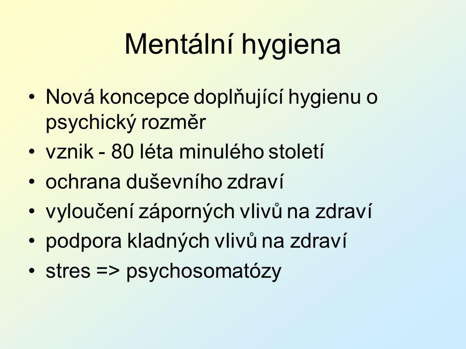 Mentální hygiena Nová koncepce doplňující hygienu o psychický rozměr vznik - 80 léta minulého století ochrana duševního zdraví vyloučení záporných vli
