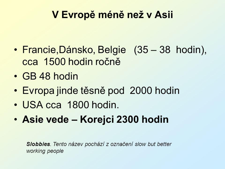 V Evropě méně než v Asii Francie,Dánsko, Belgie (35 – 38 hodin), cca 1500 hodin ročně GB 48 hodin Evropa jinde těsně pod 2000 hodin USA cca 1800 hodin