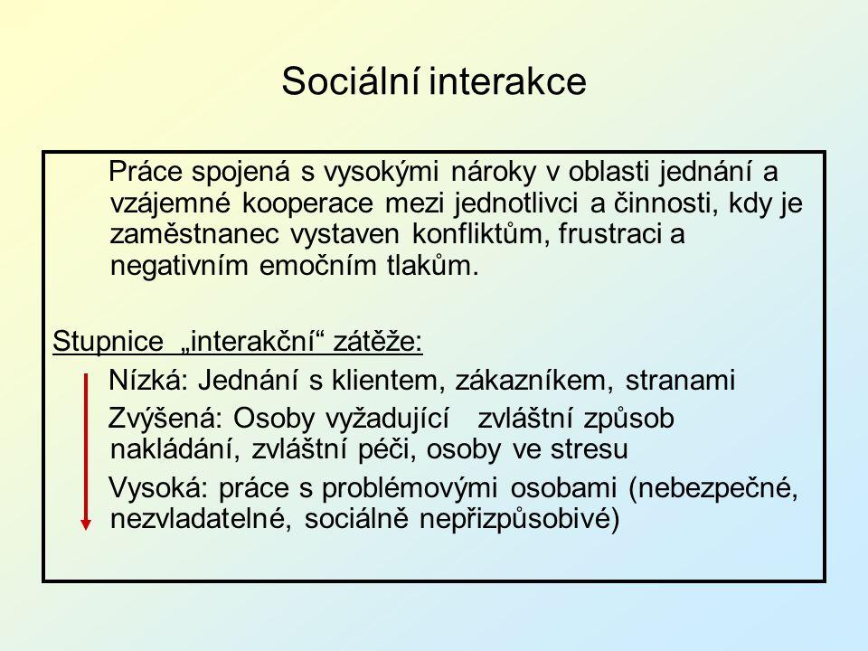 Sociální interakce Práce spojená s vysokými nároky v oblasti jednání a vzájemné kooperace mezi jednotlivci a činnosti, kdy je zaměstnanec vystaven kon