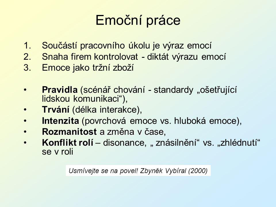 Emoční práce 1.Součástí pracovního úkolu je výraz emocí 2.Snaha firem kontrolovat - diktát výrazu emocí 3.Emoce jako tržní zboží PravidlaPravidla (scé