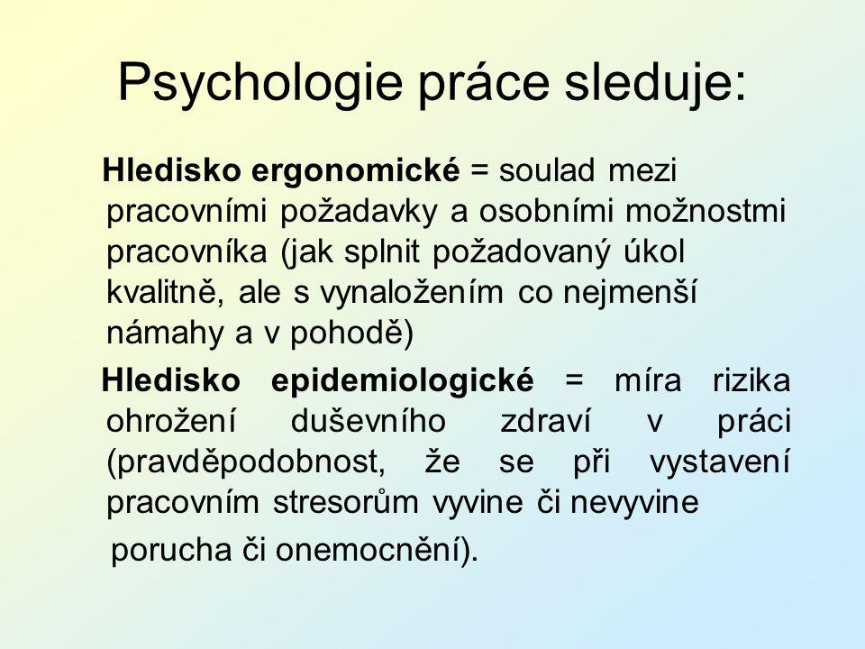 Psychologie práce sleduje: Hledisko ergonomické = soulad mezi pracovními požadavky a osobními možnostmi pracovníka (jak splnit požadovaný úkol kvalitn